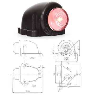 W25-131- WAS LED REAR POSITION LAMP (RED) - 12-24 VOLT